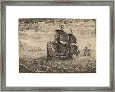 Follower Of Pieter Bruegel The Elder, Ship In Full Sail Framed Print by Quint Lox