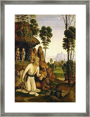 Follower Of Pietro Perugino, Saint Jerome In The Wilderness Framed Print by Litz Collection