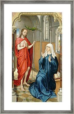 Follower Of Rogier Van Der Weyden, Christ Appearing Framed Print by Quint Lox
