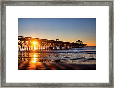 Folly Beach Pier At Sunrise Framed Print