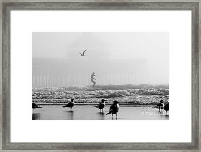 Folly Beach Pier Foggy Day Surf Framed Print