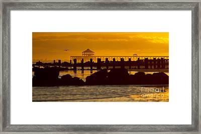 Folly Beach Pier Sunset Framed Print by Dustin K Ryan