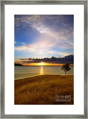 Folsom Lake Sunset Framed Print by Rima Biswas