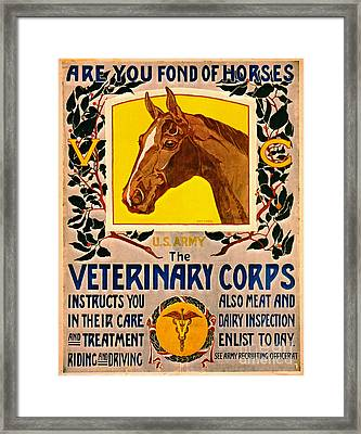 Fond Of Horses 1919 Framed Print by Padre Art