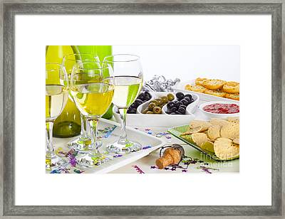 Food And Wine On A Buffet Table Framed Print