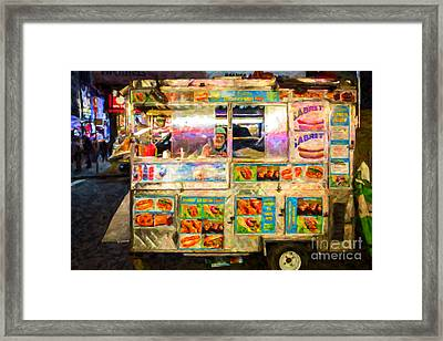 Food Cart In New York City Framed Print by Diane Diederich