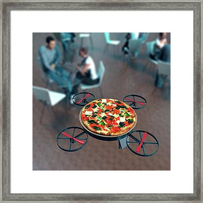 Food Delivery Drone Framed Print by Christian Darkin