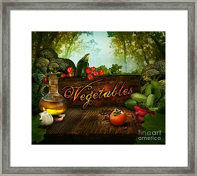 Food Design - Fresh Vegetables In Celery Forest Framed Print