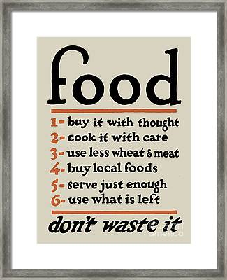 Food - Don't Waste It Framed Print by God and Country Prints