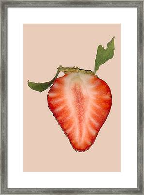 Food - Fruit - Slice Of Strawberry Framed Print by Mike Savad