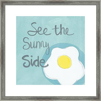 Food- Kitchen Art- Eggs- Sunny Side Up Framed Print by Linda Woods