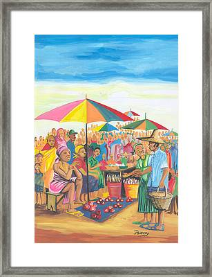 Framed Print featuring the painting Food Market In Cameroon by Emmanuel Baliyanga