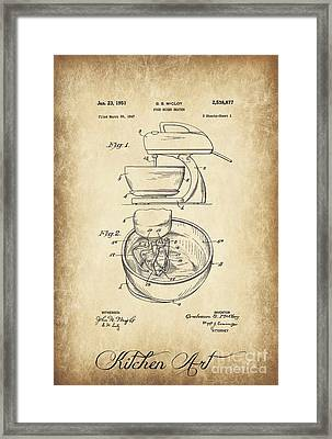 Food Mixer Patent Kitchen Art Framed Print by Clare Bevan