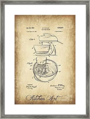 Food Mixer Patent Kitchen Art Framed Print
