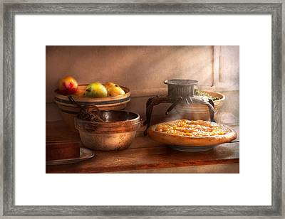 Food - Pie - Mama's Peach Pie Framed Print by Mike Savad