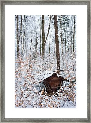 Food Point For Animals In The Winterly Forest Framed Print by Matthias Hauser