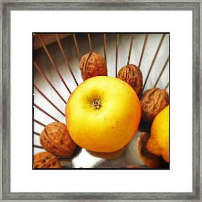 Food Still Life - Yellow Apple And Brown Walnuts - Beautiful Warm Colors Framed Print by Matthias Hauser