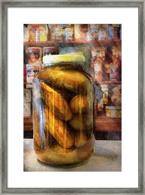 Food - Vegetable - A Jar Of Pickles Framed Print by Mike Savad