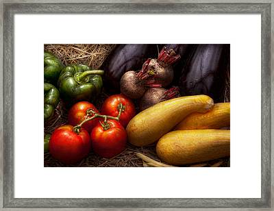 Food - Vegetables - Peppers Tomatoes Squash And Some Turnips Framed Print by Mike Savad