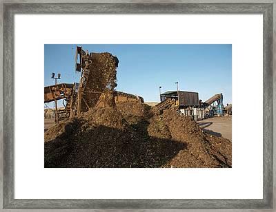 Food Waste Composting Facility Framed Print by Peter Menzel