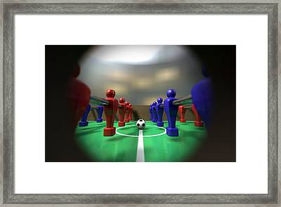 Foosball Table Through A Peephole Framed Print