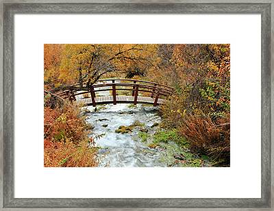Foot Bridge At Cascade Springs. Framed Print