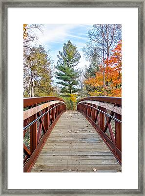 Framed Print featuring the photograph Foot Bridge In Fall by Lars Lentz