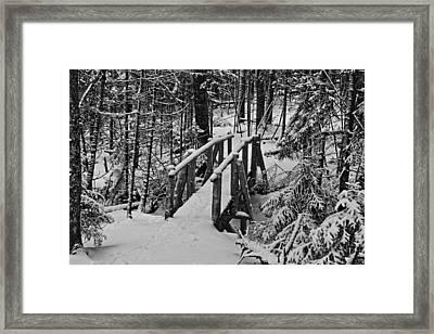 Foot Bridge In Winter Framed Print by David Rucker