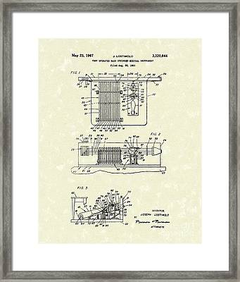 Foot Guitar 1967 Patent Art Framed Print by Prior Art Design