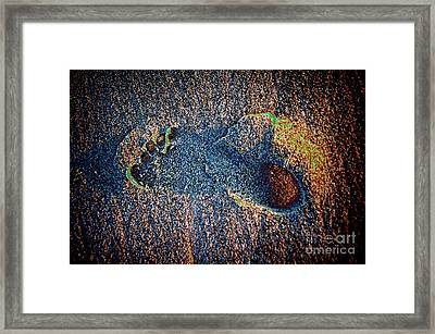 Framed Print featuring the photograph Foot In The Sand by Mariola Bitner