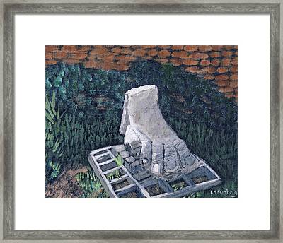 Framed Print featuring the painting Foot Statue-caesaria by Linda Feinberg