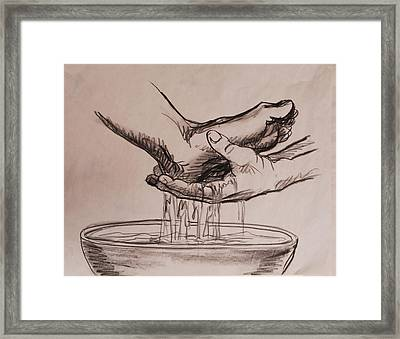 Foot Washing Framed Print by Heidi E  Nelson