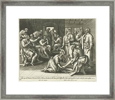 Foot Washing Of Peter, Adriaen Collaert Framed Print