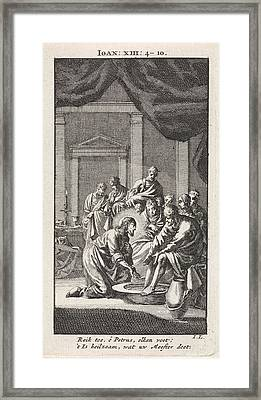 Foot Washing Of Peter, Jan Luyken Framed Print