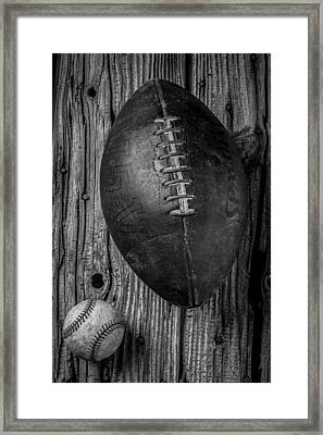 Football And Baseball Framed Print