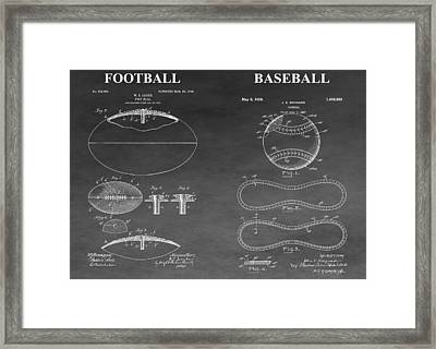 Football And Baseball Patent Framed Print