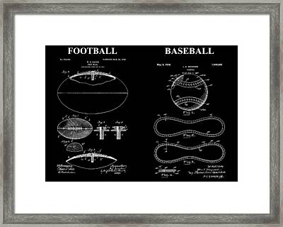 Football Baseball Patent Drawing Framed Print