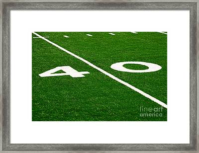Football Field 40 Yard Line Picture Framed Print by Paul Velgos
