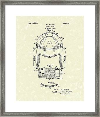 Football Helmet 1929 Patent Art Framed Print