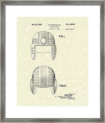Football Helmet 1936 Patent Art Framed Print by Prior Art Design