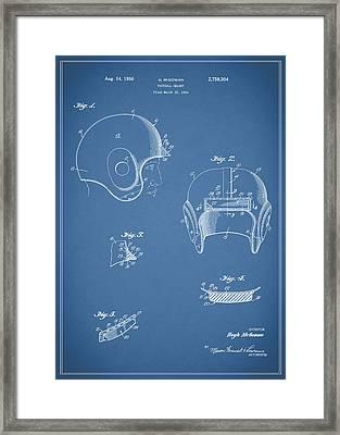 Football Helmet 1954 - Blue Framed Print by Mark Rogan