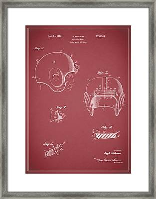 Football Helmet 1954 - Red Framed Print