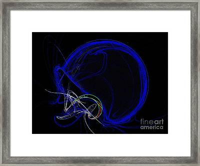 Football Helmet Blue Fractal Art Framed Print by Andee Design