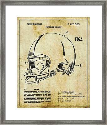 Football Helmet Patent Blueprint Drawing Tan Framed Print
