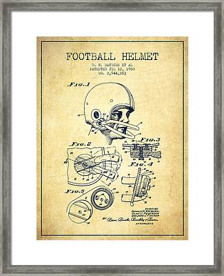 Football Helmet Patent From 1960 - Vintage Framed Print by Aged Pixel