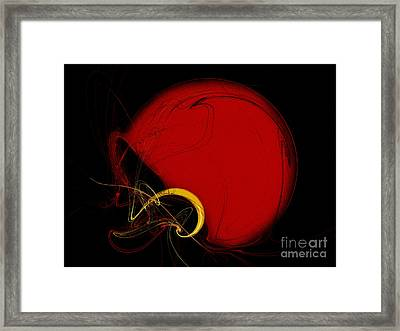 Football Helmet Red Fractal Art 2 Framed Print by Andee Design