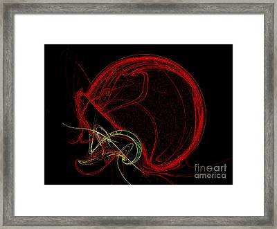 Football Helmet Red Fractal Art Framed Print by Andee Design