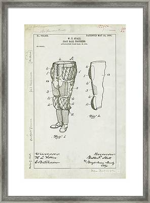 Football Pants Patent Drawing Framed Print