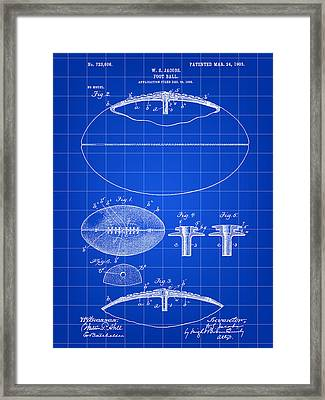 Football Patent 1902 - Blue Framed Print by Stephen Younts