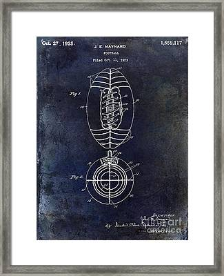 1925 Football Patent Drawing Blue Framed Print
